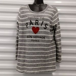 Le Lis Gray White & Stripe Pullover Sweater Large